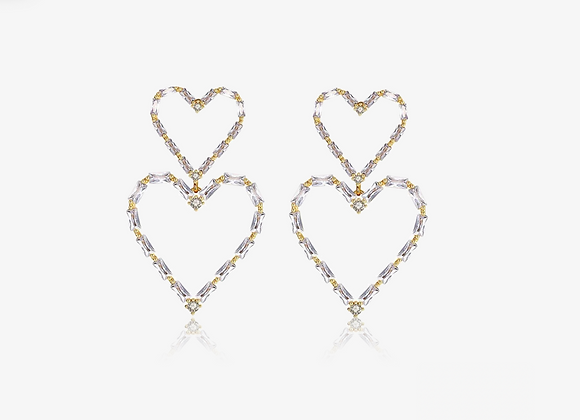 Emerald Baguette Double Heart Drop Earrings