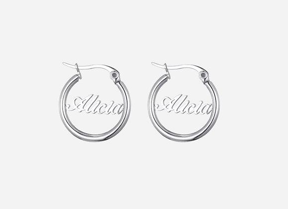 "Personalized Silver 1"" Hoop Earrings"