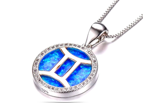 925 Sterling Silver Blue Opal Horoscope Necklace
