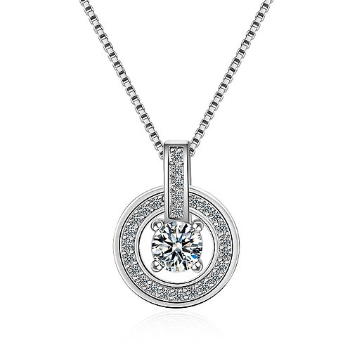 925 Sterling Silver Circle Drop Necklace