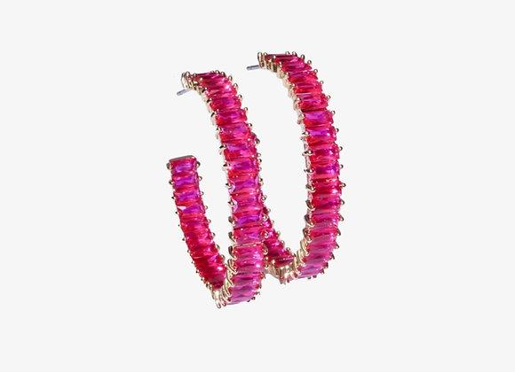 Pink Baguette Hoops