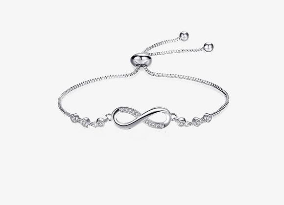 Sterling Silver Infinity CZ Adjustable Bracelet