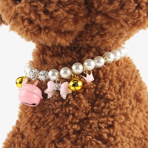 Pearl Charm Collar with Bell