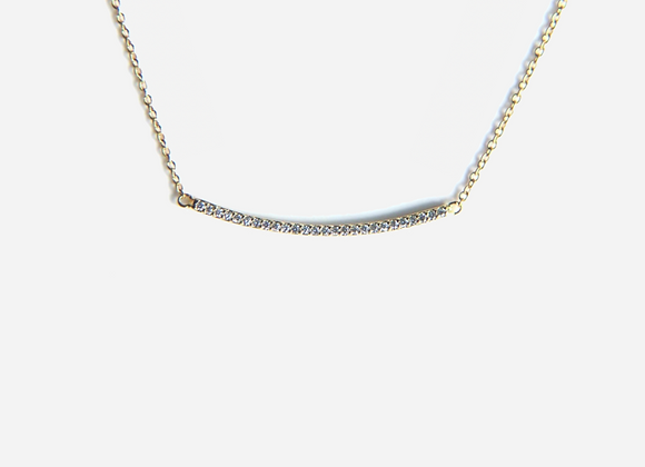 Gold Micro Pave Bar Necklace