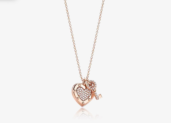 Rose Gold Key To Heart Necklace