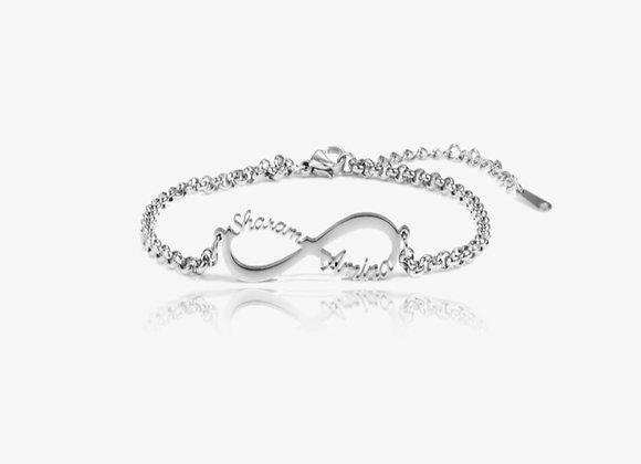 Silver Personalized Infinity Bracelet