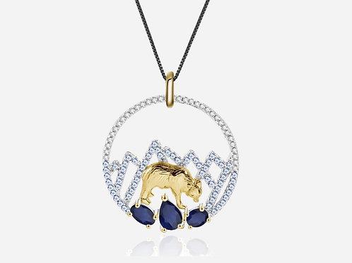 Gold Bear Sapphire Necklace