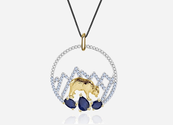 Gold Bear Sapphire Necklace