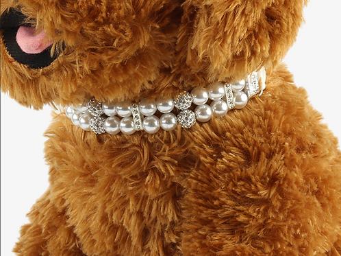 CZ Pearl Leather Collar