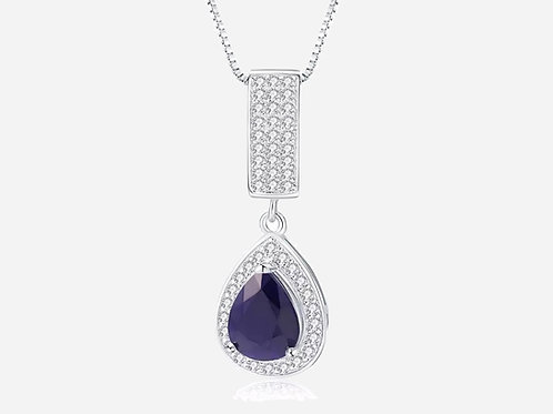 Silver Halo Pear Sapphire Necklace