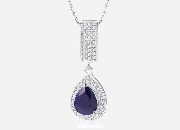 Silver Halo Pear Sapphire Necklace