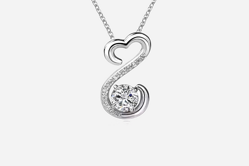 925 Sterling Silver Heart Drop Necklace