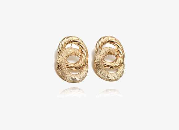 Gold Double Texture Drop Earrings