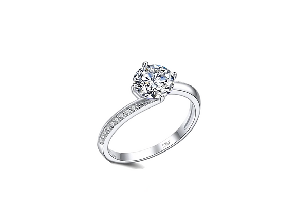 925 Sterling Silver Cubic Zirconia Round Solitaire Ring