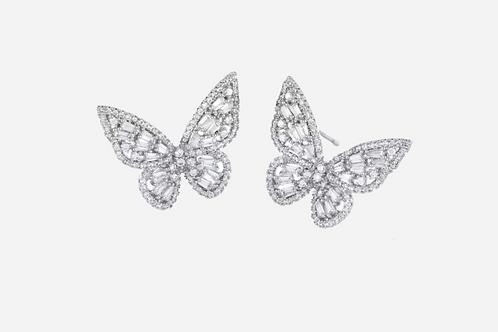 Sterling Silver Baguette Butterfly Stud Earrings