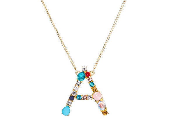 Gold Multi Color Initial Necklace