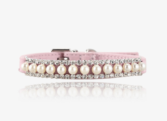 CZ Pearl Pink Suede Collar