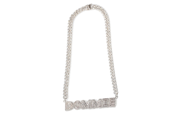 Personalized 18k White Gold Baguette Cuban Link Necklace