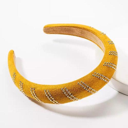 Yellow Crystal Beaded Headband