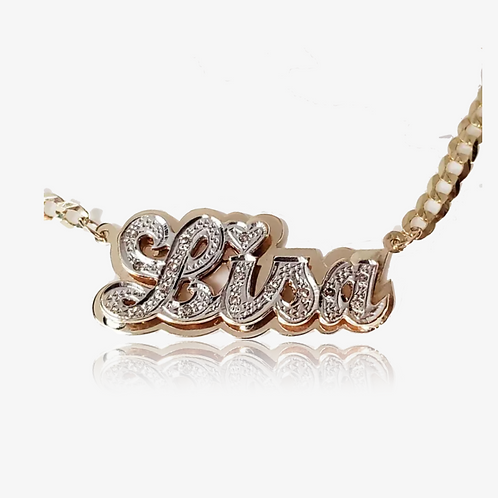 10K Rose Gold Personalized Doubled Nameplate Necklace