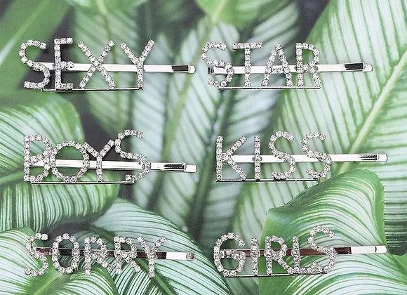 Silver CZ Hair Pins