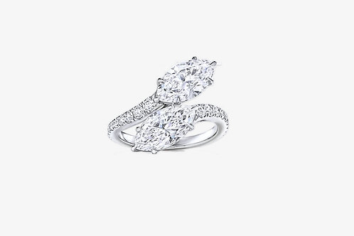 925 Sterling Silver Moissanite Marquise Ring