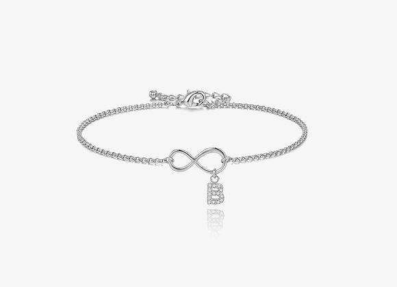 Silver Infinity Initial CZ Bracelet