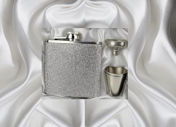 Silver CZ Flask Set