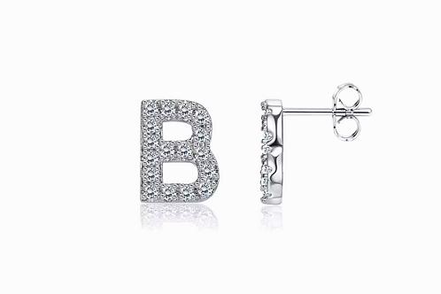 Silver CZ Initial Stud Earrings
