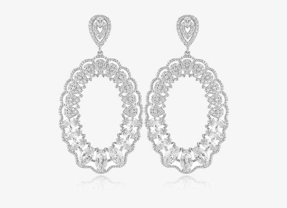 Sterling Silver Oval Water Drop Earrings