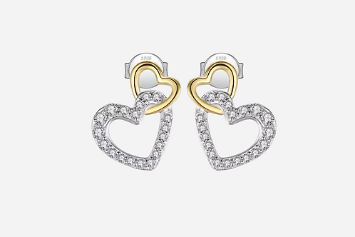 Double Heart Stud Earrings