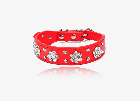 Red CZ Floral Leather Collar
