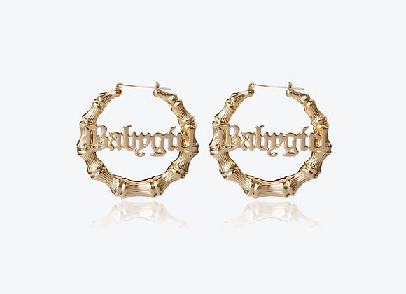Gold Personalized Bamboo Hoop Earrings