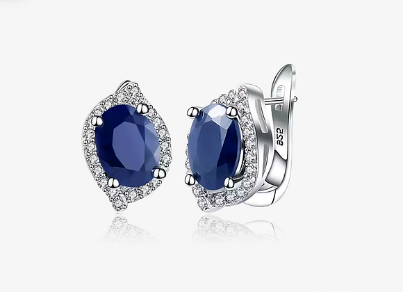 925 Sterling Silver Sapphire Oval Studs