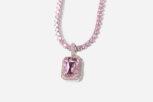 14K Pink Sapphire Tennis Necklace