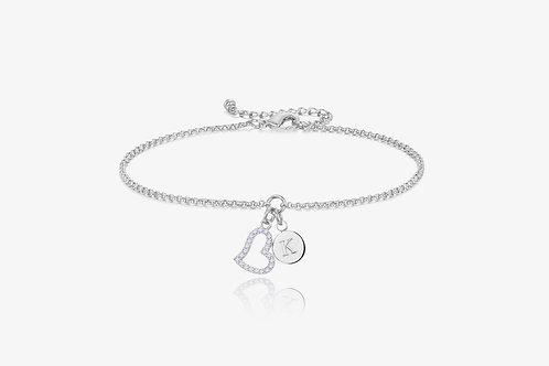 Silver Heart Initial Bracelet
