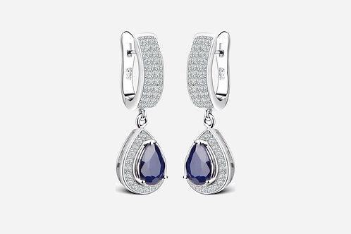 Halo Pear Sapphire Drop Earrings
