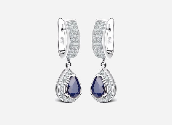 Halo Pear Sapphire Drop Earrings