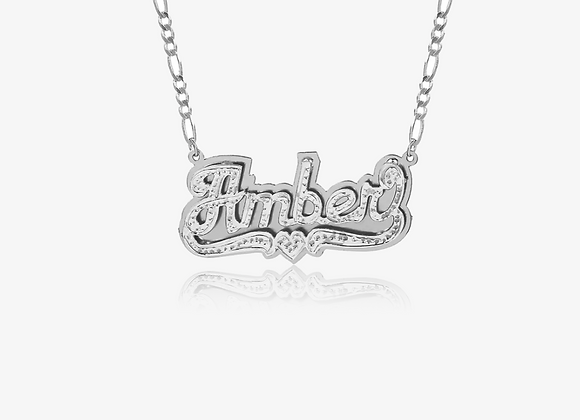Silver Personalized Doubled Heart Nameplate Necklace