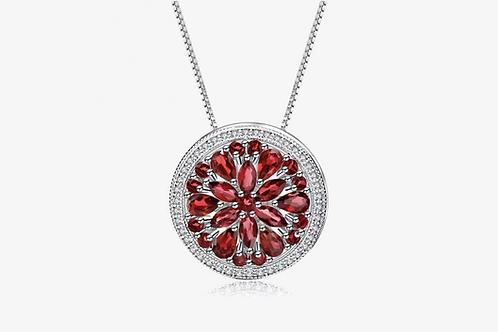 925 Sterling Silver Garnet Flower Pendant