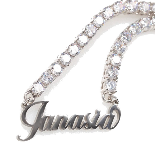 Personalized 925 Sterling Silver Tennis Necklace