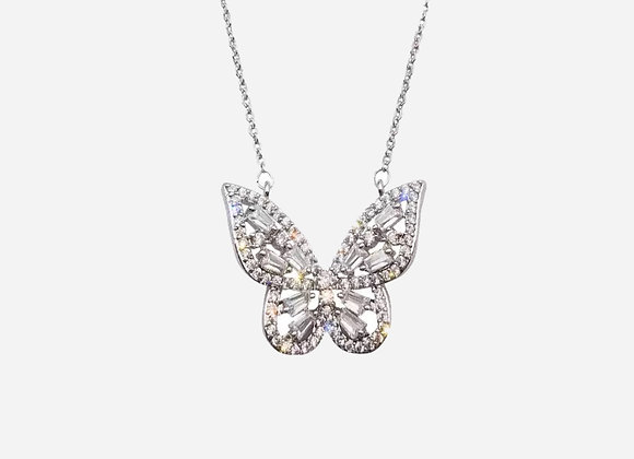 Sterling Silver Baguette Butterfly Necklace