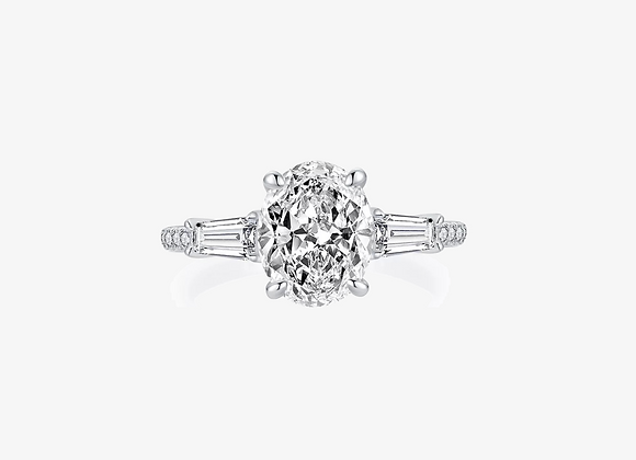 925 Sterling Silver Moissanite Oval Ring