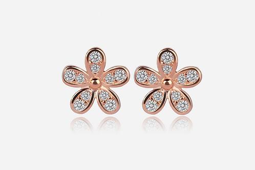 Rose Gold Flower Stud Earrings
