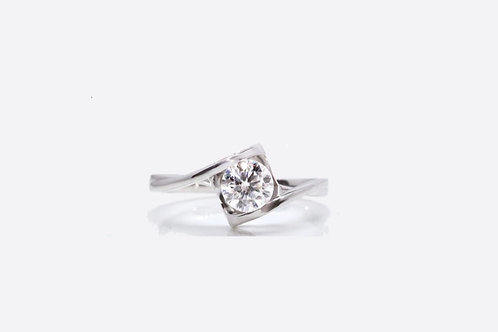 925 Sterling Silver Moissanite Solitaire Ring