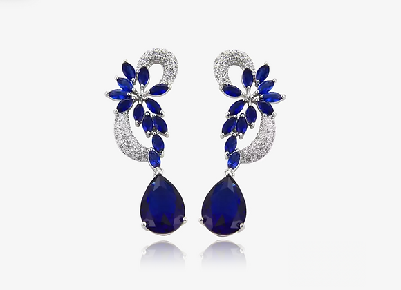 GLITZ Sapphire Floral Drop Earrings
