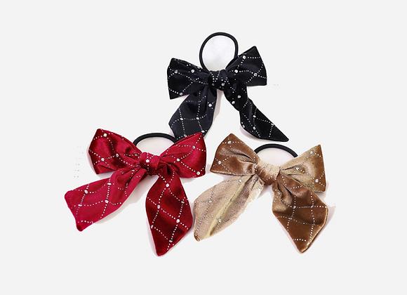 Velvet CZ Bow Hair Tie