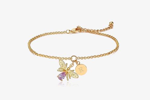Gold Bee Initial Bracelet