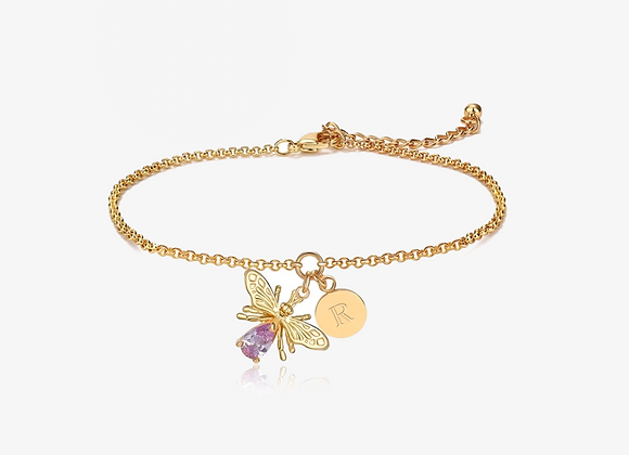 Gold Bee Initial Bracelet