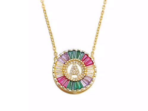 Gold Multi Color Pave Initial Necklace